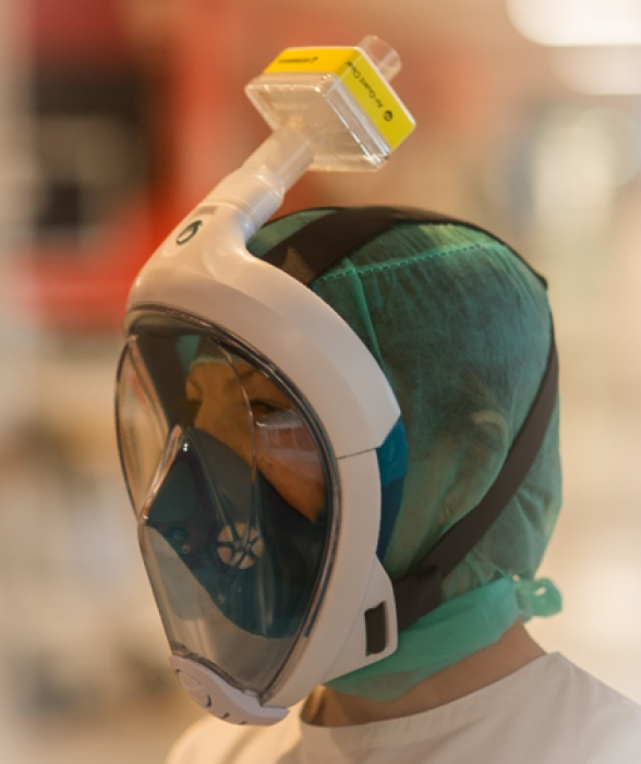 Snorkel masks to protect staff working with Covid-19 patients